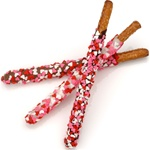 Heart Sprinkles Pretzel Wands -Individually Wrapped