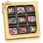Patriotic Chocolate Dipped Mini Crizpy ®- Window Gift Box of 9