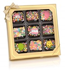 Birthday Chocolate Dipped Mini Crizpy ®- Window Gift Box of 9