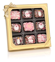 Baby Girl Chocolate Dipped Mini Crizpy ®- Window Gift Box of 9