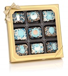 New Baby Boy Chocolate Dipped Mini Crizpy ®- Window Gift Box of 9