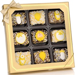 Neutral New Baby Chocolaate Dipped Mini Crizpy ®- Window Gift Box of 9