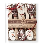 "NEW! Kraft Box of 6 Snowmen and Crushed Candy Cane 5.5"" Chocolate Spoons"