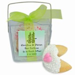 Personalized Take Out Favor Boxes of 2 Wedding Fortune Cookies