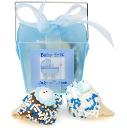 Baby Boy Personalized Take Out Pail of 2 Fortune Cookies
