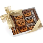 Gift Box of 12 Classic Belgian Chocolate & Caramel Pretzel Wands and Twists