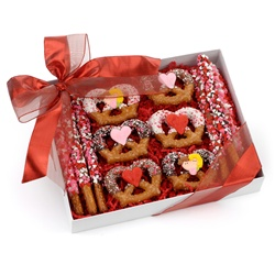 Gift Box of 12 Romantic Belgian Chocolate & Caramel Pretzel Wands and Twists