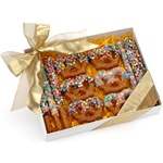 Gift Box of 12 Confetti Belgian Chocolate & Caramel Pretzel Wands and Twists