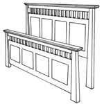 Quarter Sawn Oak Teton Mission Bed