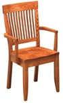 Quarter Sawn Oak Harvest Dining Room Chair, With Arms