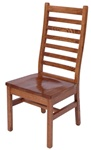 Mixed Wood Railroad Dining Room Chair, With Arms