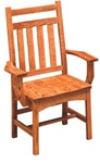 Mixed Wood Trestle Dining Room Chair, With Arms