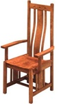 Mixed Wood Zen Dining Room Chair, With Arms