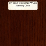 Quarter Sawn White Oak Wood Sample, Blackened Finish