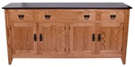"44"" x 36"" x 20"" Oak Shaker Server (Four Doors)"