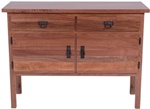 "51"" x 36"" x 19"" Walnut Mission Sideboard (stores three 46"" x 12"" leaves)"