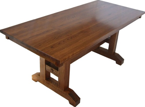 54 x 54 quarter sawn oak trestle dining room table for Dining room table 54 x 54