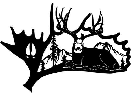 Moose Antler Metal Art Laying Mule Deer