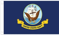 U.S. Navy Flag w/ Pole Hem - 3' x 5' - Nylon