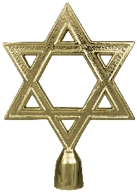 "Star of David Flag Pole Ornament - 6 3/4"" - Gold Finish"