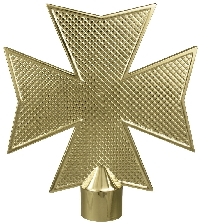 "Maltese Cross Flag Pole Ornament w/ Ferrule - 6 3/4"" - Gold Finish"