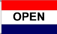 Open Red & Blue Message Flag - 3' x 5' - Nylon