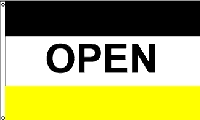 Open Black & Yellow Message Flag - 3' x 5' - Nylon