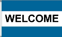 Welcome Double Aqua Message Flag - 3' x 5' - Nylon