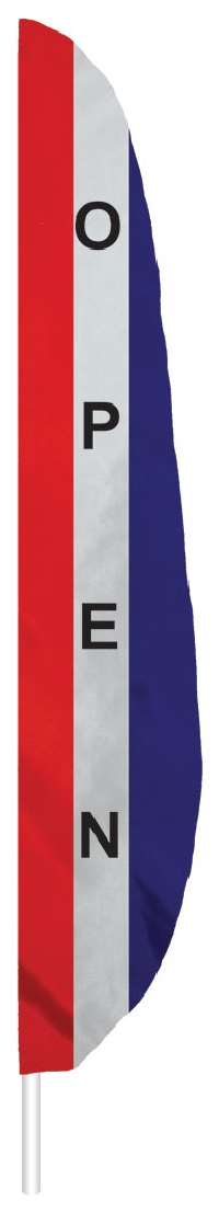 "Red White & Blue Open Feather Flag - 7' x 17"" - Nylon"