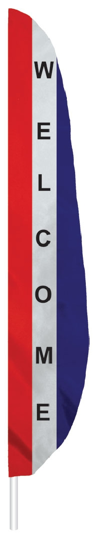 "Red White & Blue Welcome Feather Flag - 7' x 17"" - Nylon"