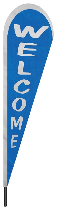 "Blue Welcome Teardrop Flag - 10' x 30"" - Nylon"
