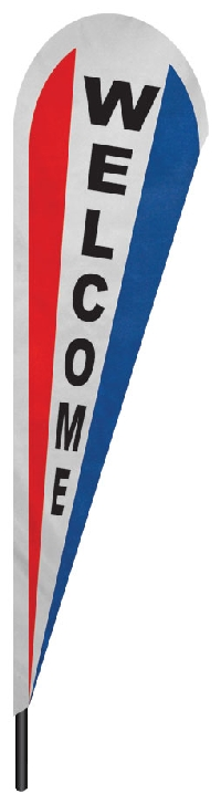 "Red White & Blue Welcome Teardrop Flag - 10' x 30"" - Nylon"