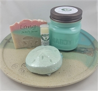 Our Bamboo Gift Set contains 1 all natural cold process soap and a bamboo soap dish in an organza bag