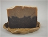 Coffee Goat Milk Soap with extra fine coffee grounds sprinkled on top.