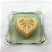 Long Family Farm Goat Milk FACE soap on a glass soap dish by Sue Dave of Visual Joy Studio