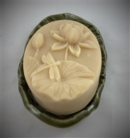 Lavender Oatmeal Goat Milk soap in a grooved bar mold