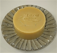 Long Family Farm Shaving Soap in a 3 inch diameter mold on a glass dish by Sue Davis