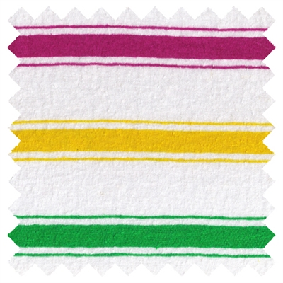 <B>ORDER#: CA-K2-P1C1</B> <BR>55% Hemp, 45% Organic Cotton Jersey  Fucia/Green/Yellow Stripes - Weight: 5 oz. Width: 72""