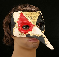 Long Nose Casanova Mask Red and Black - Adult