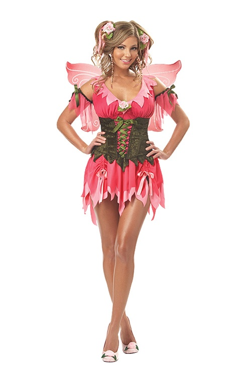 Sexy Pink Rose Fairy Costume - Halloween - Adult And Plus Size-5328