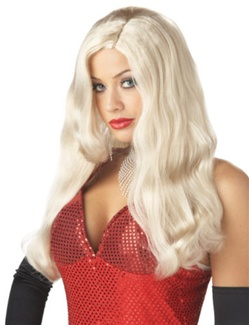 Long Platinum White Movie Starlet Adult Wig