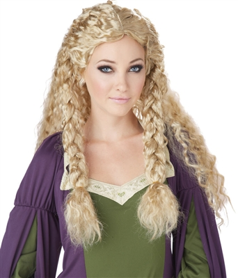 Wavy Blonde Viking Princess Wig with Braids