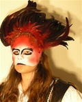 Ruby Feather Mask - Accessory