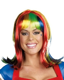 Rainbow Bright Styled Wig with Bright Colors
