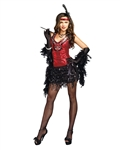 Sexy Black and Red Sequin Flapper Costume