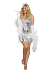 Plus Size Silver Flapper Costume