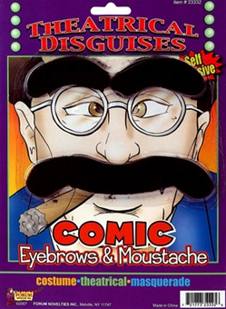 Theatrical Comic Eyebrows and Moustache Kit