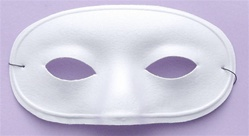 Adult White Domino Eye Half Mask