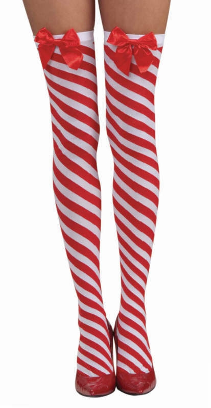 4164d3e0c2c6a Candy Cane Striped Thigh High Stockings - Red and White
