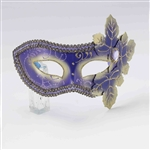 Venetian Half Mask - Purple Leaves